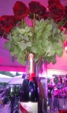 Champagne med rosor