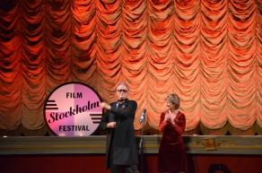 Peter Fonda med kulturminister Lena Adelsohn Liljeroth