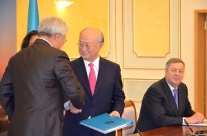 Yukiya Amano, Erlan Idrissov ,Vladimir Shkolnik