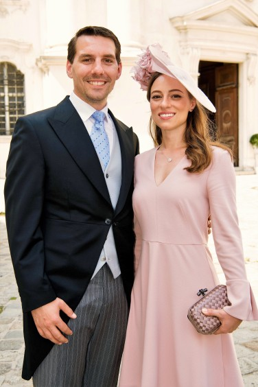 Prince Nicholas of Roumania and his fiancee Aline Marie Binder. Wedding of Maria Magdalena de Tornos & Count Jean d' Andlau de Cleron d'Haussonville at the Church of the Piarists in Vienna, AUSTRIA, August 26, 2017. Maria Magdalena de Tornos is sister of Duchess of Vendome, Princess Philomena of Orleans. Processed with VSCO with l1 preset