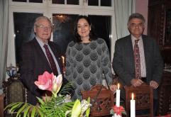 3:e Advent på Villa Solborg. Gen.dir. Jan-Olov Carlsson, Operasångerskan Katarina Karnéus och Greklands ambassadör Dimitrios Touloupas.