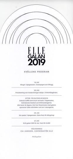 Elle galan 2019 Program 2